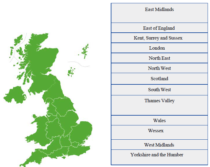 Map of UK core surgical training application deaneries
